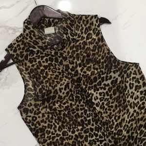 Chiffon Leopard Button Up